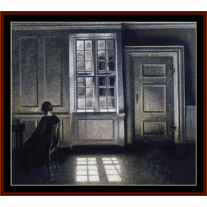 interior, 1909 - hammershoi cross stitch pattern by cross stitch collectibles
