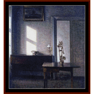interior with potted plant - hammershoi cross stitch pattern by cross stitch collectibles