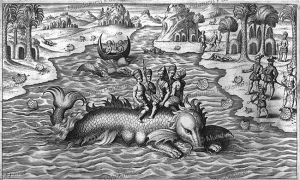 native americans riding a manatee, philoponus, honorius, 1621