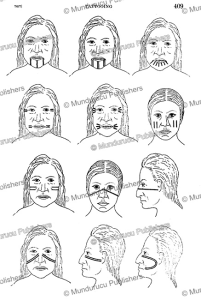 tattoo patterns for the face of the thompson indians, james teit, 1927