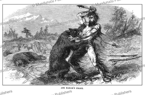jim baker (1818–1898) fighting of a grizzly bear, colonel r.b. marcy, 1866