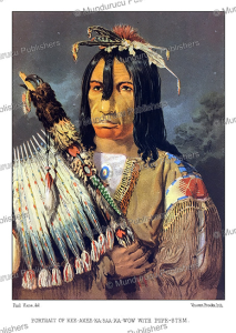 plains cree chief kee-akee-ka-saa-ka-wow with peace pipe, great plains, paul kane, 1859