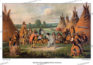 plains cree indians performing a pipe-stem dance, great plains, paul kane, 1859