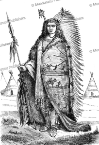 sioux chief of the dakota nation, great plains, a. joliet, 1860