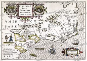 Map of Virginia and Florida, Jodocus Hondius, 1633 | Photos and Images | Travel