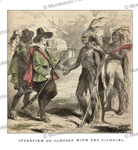 Local chief Samoset meeting the pilgrims in 1621, Virginia, S.G. Whitney, 1853 | Photos and Images | Travel