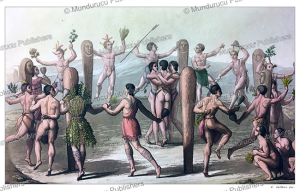 indian ritual dance by algonquian native americans, gallo gallina, 1816