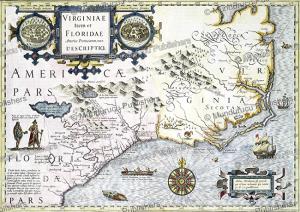 map of virginia and florida, jodocus hondius, 1636