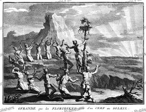 natives of florida sacrifice a goat to the sun, bernard picart, 1735