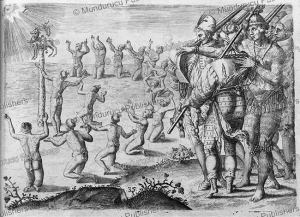 ritual where native indians worship the sun, florida, theodoor de bry, 1591