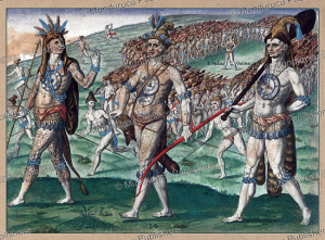 The kings Outina and Saturiova before their troops, Florida, Theodoor de Bry, 1591 | Photos and Images | Travel