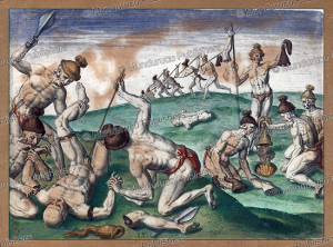 collecting scalps and mutilating the bodies after battle, florida, theodoor de bry, 1591