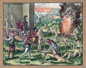 hernando de soto torturing american natives, florida, theodoor de bry, 1595