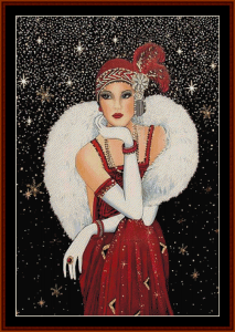 Glamour Girl in Red - Vintage Art cross stitch pattern by Cross Stitch Collectibles | Crafting | Cross-Stitch | Other