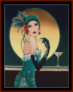 Glamour Girl in Blue-Green - Vintage Art cross stitch pattern by Cross Stitch Collectibles | Crafting | Cross-Stitch | Other