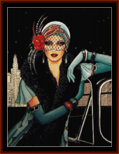 Glamour Girl in Light Blue - Vintage Art cross stitch pattern by Cross Stitch Collectibles | Crafting | Cross-Stitch | Other