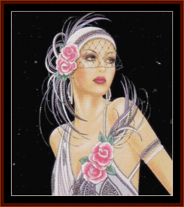 glamour girl in white - vintage art cross stitch pattern by cross stitch collectibles