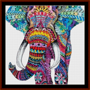 elephant mandala v - cross stitch pattern by cross stitch collectibles