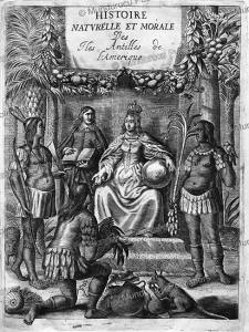 an allegorical figure of europe receives tribute from three native americans, hispaniola, charles de rochefort, 1658