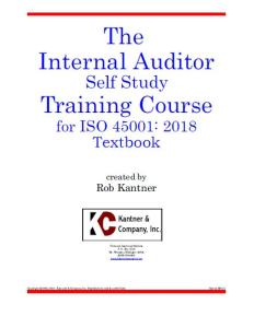effective internal auditor self study training - iso 45001:2018