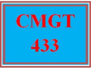 CMGT 433 Assignment Entire Course | eBooks | Education