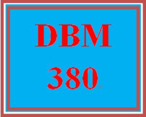 DBM 380 Entire Course | eBooks | Education