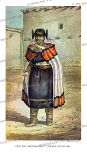 Young Moqui girl feeding the snakes, John G. Bourke, 1884 | Photos and Images | Travel