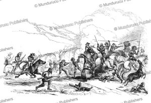 apache indians attacking wagon train, augustus hoppin, 1874