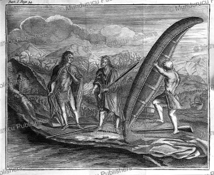 native americans with canoe in new france (canada), claude le beau, 1752
