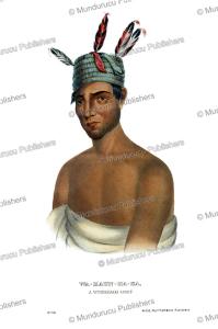 wakaun haka (snake skin), a winnebago chief, thomas mckenney, 1872