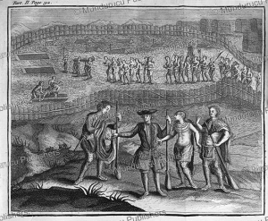 native american funeral ceremony in new france (canada), claude le beau, 1752