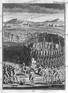 siege of a huron fort by iroquois indians, canada, joseph franc¸ois lafitau, 1751