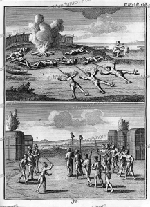 the manner in which iroquois indians guard their prisoners and prepare scalps, canada, joseph franc¸ois lafitau, 1751