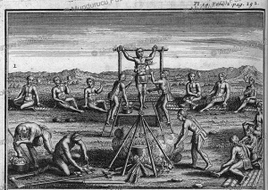 execution and torture of slaves by the iroquois, america, joseph franc¸ois lafitau, 1724