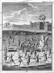 funeral ritual for iroquois indians who were drowned or frozen to death, canada, joseph franc¸ois lafitau, 1751