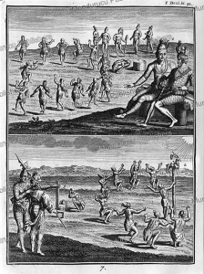 ritual of sacrificing the first-born and worshipping a deer, florida, j.f. lafitau, 1751
