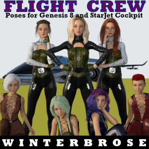 flight crew poses for starjet cockpit and genesis 8 (female and male)