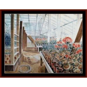 greenhouse - eric ravilious cross stitch pattern by cross stitch collectibles
