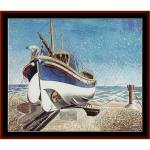 lifeboat at aldeburgh - eric ravilious cross stitch pattern by cross stitch collectibles