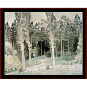 lombardy poplars - eric ravilious cross stitch pattern by cross stitch collectibles