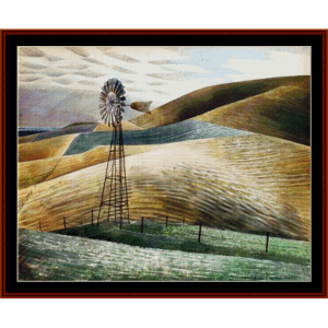 windmill - eric ravilious cross stitch pattern by cross stitch collectibles