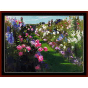 in the garden - patrick w. adam cross stitch pattern by cross stitch collectibles