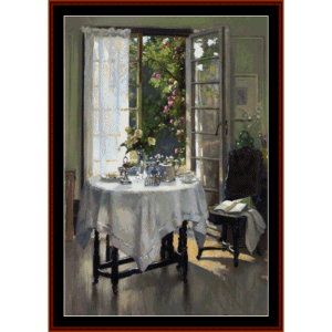 morning in the studio - patrick w. adam cross stitch pattern by cross stitch collectibles