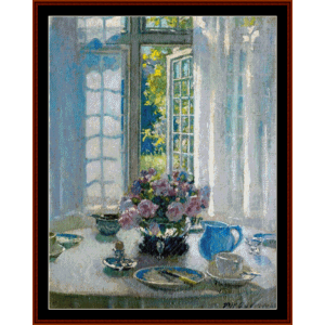the breakfast table - patrick w. adam cross stitch pattern by cross stitch collectibles