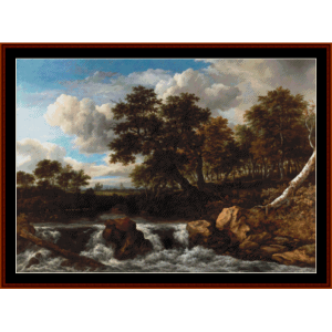 landscape with waterfall - jacob van ruisdael cross stitch pattern by cross stitch collectibles
