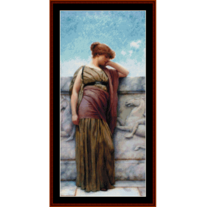 leaning on the balcony - godward cross stitch pattern by cross stitch collectibles