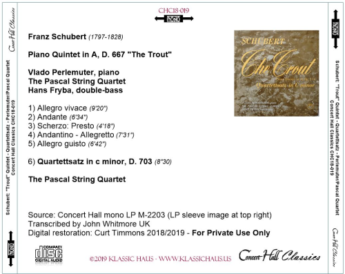 "First Additional product image for - Schubert: ""Trout"" Quintet - Quartettsatz in c minor, D. 703 - Perlemuter/Pascal SQ/Hans Fryba, dbl. bass"