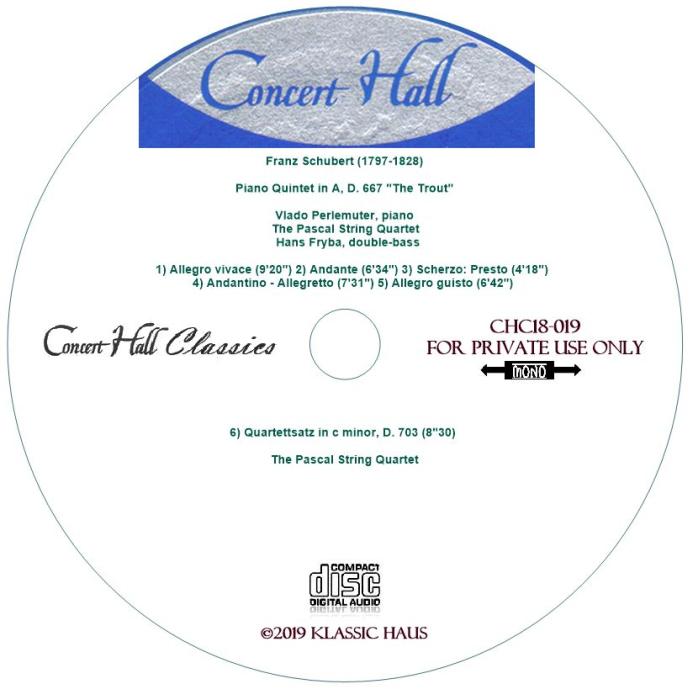 """Third Additional product image for - Schubert: """"Trout"""" Quintet - Quartettsatz in c minor, D. 703 - Perlemuter/Pascal SQ/Hans Fryba, dbl. bass"""