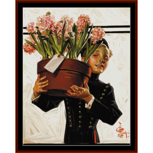 Bellhop with Hyacinths - Leyendecker cross stitch pattern by Cross Stitch Collectibles | Crafting | Cross-Stitch | Other