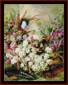 Heather and Butterflies - Durer cross stitch pattern by Cross Stitch Collectibles | Crafting | Cross-Stitch | Other